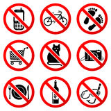 Set Prohibited Signs Stock Image