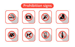 Set Prohibited Signs. White-red icons set of prohibition signs Stock Photos