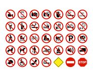Set of prohibition, ban signs. Vector illustraion. Set of prohibition, ban signs. . White background. Vector illustraion Royalty Free Stock Images
