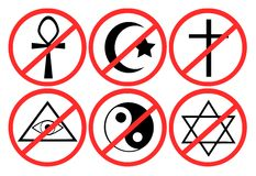 Set prohibition of religion. Set of images that represents prohibition of religion. An idea to talk about atheism or religions Stock Photos