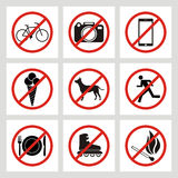 Set of prohibition signs at the entrance to the store or shop. N Royalty Free Stock Photos