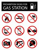 Set of prohibition signs for gas station stock illustration