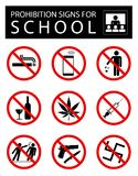 Set of prohibition signs for school vector illustration