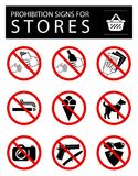Set of prohibition signs for stores vector illustration
