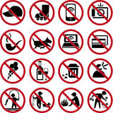 Set of prohibition signs Royalty Free Stock Photo