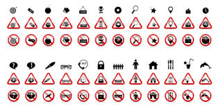Set of Prohibition Signs. Vector Illustration Stock Photography