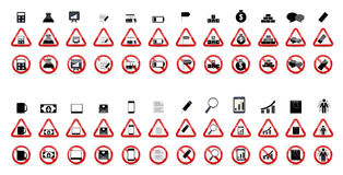 Set of Prohibition Signs. Vector Illustration Stock Photos