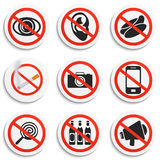 Set of 9 Prohibition Signs on White Round Plates. Royalty Free Stock Photo