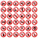 Set of Prohibition Symbol Royalty Free Stock Photos
