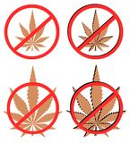 Set of prohibition on use of marijuana Stock Photography