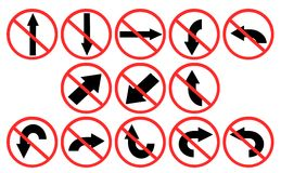 Set of prohibitions direction  Stock Images