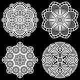 Set projektów elementy, koronkowy round papieru doily, doily dekorować tort, świąteczny doily, doily - szablon dla ciąć Obrazy Stock
