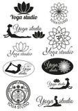 Set projektów pojęcia dla joga studia Fotografia Stock