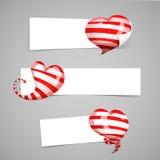Set projektów szablonów biali horyzontalni sztandary, emblematy, odznaki z wystrojem czerwień paskował 3d serca Dobry dla Fotografia Stock