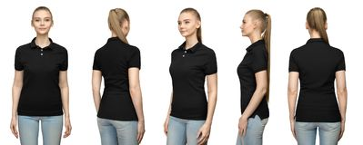 Girl in blank black polo shirt mockup design for print and template woman in T-shirt front half turn nside back view isolated. Set promo pose girl in blank black Stock Image