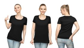 Set promo pose girl in blank black tshirt mockup design for print and concept template young woman in T-shirt front and back view. Set promo pose girl in blank stock image