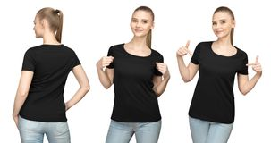 Set promo pose girl in blank black tshirt mockup design for print and concept template young woman in T-shirt front and back view. Set promo pose girl in blank stock images