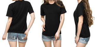 Set promo pose girl in blank black tshirt mockup design for print and concept template young woman in T-shirt isolated. Set promo pose girl in blank black tshirt stock photography