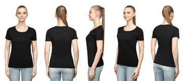 Set promo pose girl in blank black tshirt mockup design for print and concept template young woman in T-shirt isolated. Set promo pose girl in blank black tshirt stock photos