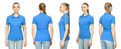 Girl in blank blue polo shirt mockup design for print and concept template young woman in T-shirt front and side back view. Set promo pose girl in blank blue stock photos