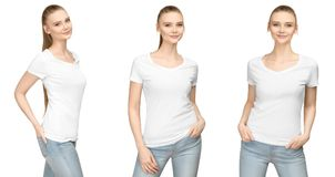 Girl in blank white tshirt mockup design for print and concept template young woman in T-shirt front and half turn side view. Set promo pose girl in blank white royalty free stock photos