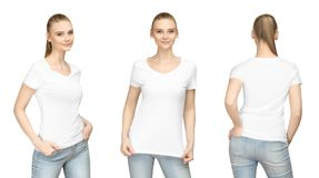 Promo pose girl in blank white tshirt mockup design for print and concept template young woman T-shirt front and side back view. Set promo pose girl in blank Stock Photography
