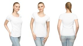 Promo pose girl in blank white tshirt mockup design for print and concept template young woman T-shirt front and side back view. Set promo pose girl in blank stock images