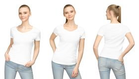 Promo pose girl in blank white tshirt mockup design for print and concept template young woman T-shirt front and side back view. Set promo pose girl in blank stock photo
