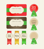 Set of promotion cards design with ribbons. Stock Image