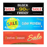 Set of promotion sale discount web banner for Black Friday Cyber. Set of promotion sale discount web banners for Black Friday Cyber Monday Festive Season in Stock Photography