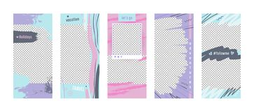 Set of Promotion Templates for Social Media Stories. Colorful Abstract Grungy Style Promo Backgrounds for Summer Promotion. Ad Newsletter Layouts. Summer vector illustration
