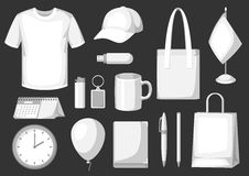 Set of promotional gifts and advertising souvenirs Stock Photo