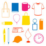 Set of promotional gifts and advertising souvenirs Royalty Free Stock Photos