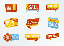Set of promotional labels with lettering: sale, discount. Collection advertising badges. Royalty Free Stock Photos