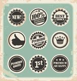 Set of promotional retro labels, badges, stamps and stickers. Vintage signs, symbols and icon collection of vector design elements Stock Image