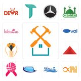 Set of property maintenance, alpha, flood, auto glass, world cancer day, pyramid, snake head, oval, hibiscus icons. Set Of 13 simple editable icons such as Stock Image