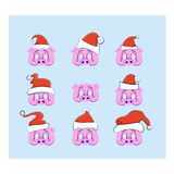 A set of props for a photo shoot for Christmas and New Year, mask in the form of a pig`s head with a Christmas hat vector illustration