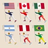 Set proste płaskie atlety jeździć na łyżwach z flaga Fotografia Royalty Free