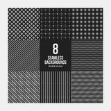 Set 8 prostych geometrycznych wzorów Fotografia Royalty Free
