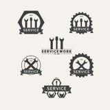 Set prostych wektorowych emblematów warsztatowy utrzymanie Fotografia Royalty Free
