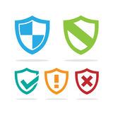 Set of protection shield icons. Set of colored protection shield icons on a white background vector illustration