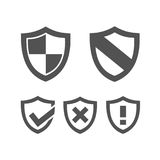 Set of protection shield icons Stock Photos
