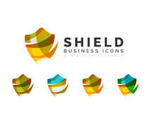 Set of protection shield logo concepts Stock Photography