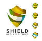 Set of protection shield logo concepts Royalty Free Stock Photo