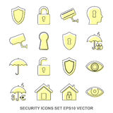 Set of protection Yellow icons. EPS 10, vector illustration. Stock Photography