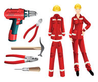 Set of protective wear and hand tools. Vector illustration of nippers, awl, pliers and electric drill  on white. Woman worker in protective wear and helmet. Set Royalty Free Stock Photos