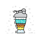 Set of protein shakes. Protein shake sports drink. The recipe and composition of cooking natural protein shake. Drawn in a flat style and outline vector illustration