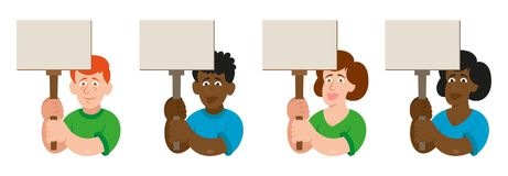 Set protest people. Set flat cartoon characters black white man and women with different emotion people which keep a sign without slogan take part in protest for Royalty Free Stock Photo
