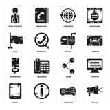 Set of Protest, Projector, Tablet, Share, Microphone, Mailbox, Flag, Earth grid, News reporter icons. Set Of 16 simple  icons such as Protest, Projector, Info Royalty Free Stock Image