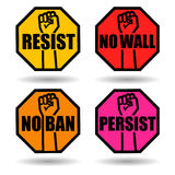 Set of protest signs with raised fist. Stock Photos